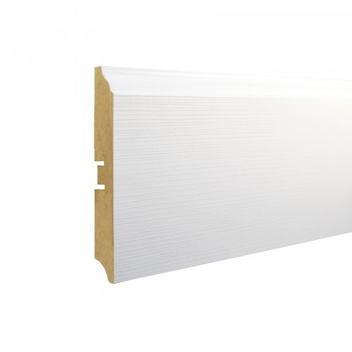 Плинтус МДФ Smartprofile Paint 3D wood 100В (100мм) Фактурный белый под покраску