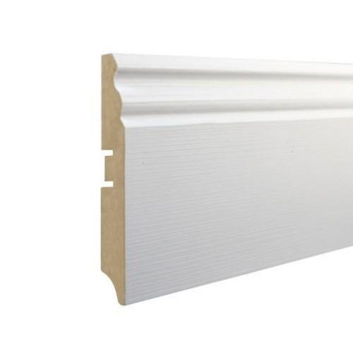 Плинтус МДФ Smartprofile Paint 3D wood 100Е (100мм) Фактурный белый под покраску