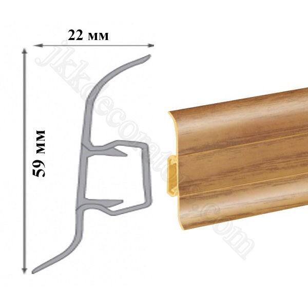 Плинтус пластиковый напольный Cezar Premium 59х22x2500 мм. дерево тасманское 101 / шт.