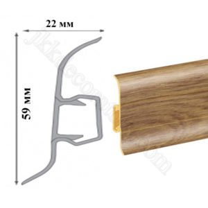 Плинтус пластиковый напольный Cezar Premium 59х22x2500 мм. Дуб замковый 108 / шт.