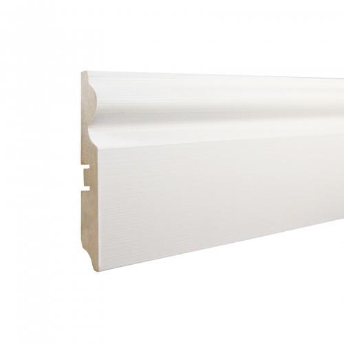 Плинтус МДФ Smartprofile Paint 3D wood 110С (110мм) Фактурный белый под покраску