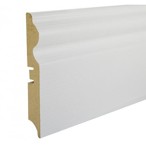 Плинтус МДФ Smartprofile Paint 3D wood 116 (116 мм) Фактурный белый под покраску