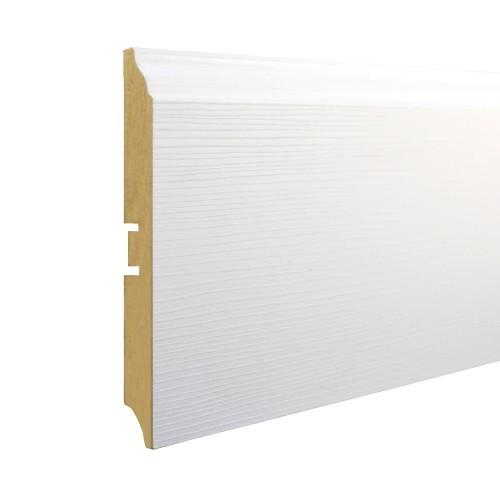 Плинтус МДФ Smartprofile Paint 3D wood 116D (116 мм) Фактурный белый под покраску
