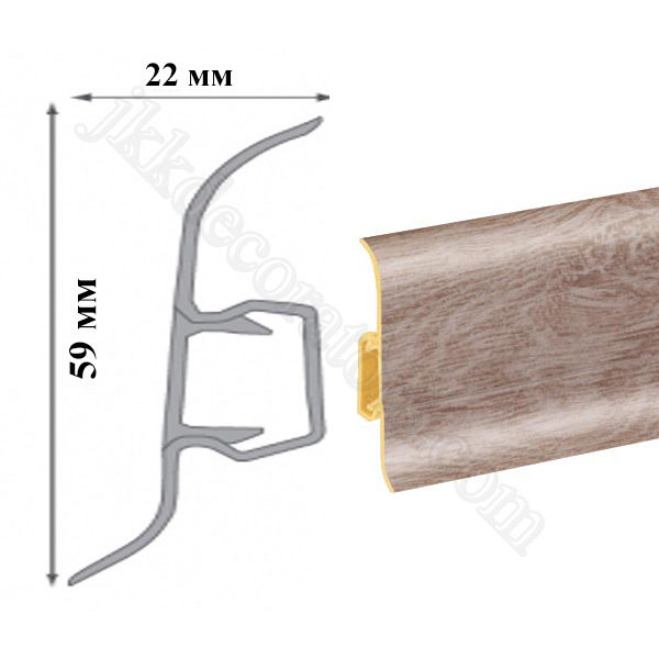 Плинтус пластиковый напольный Cezar Premium 59х22x2500 мм. Вяз 117 / шт.