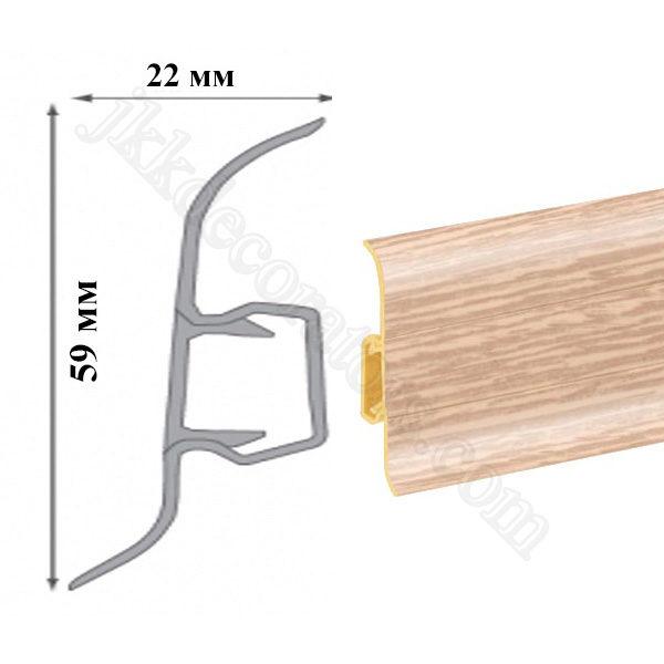 Плинтус напольный пластиковый T-plast, с кабель-каналом, 58х22x2500 мм. 118 Дуб полярный / шт.