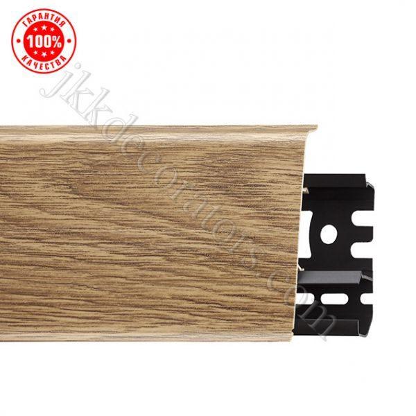 Плинтус пластиковый Ideal, Идеал-Комфорт напольный, 2500 х 55 мм. Глянцевый Ясень белый 252 / шт.