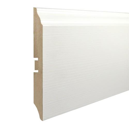 Плинтус МДФ Smartprofile Paint 3D wood 120В (116 мм) Фактурный белый под покраску