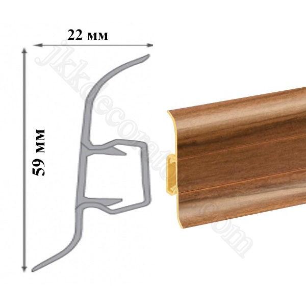 Плинтус пластиковый напольный Cezar Premium 59х22x2500 мм. Орех африканский 131 / шт.