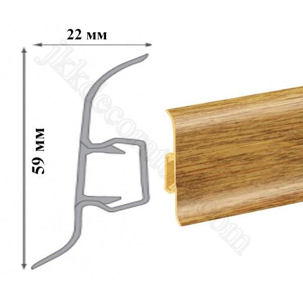 Плинтус пластиковый напольный Cezar Premium 59х22x2500 мм. Дуб редут 134 / шт.