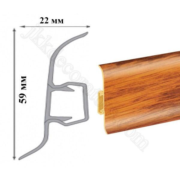 Плинтус пластиковый напольный Cezar Premium 59х22x2500 мм. Кастелло 153 / шт.