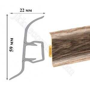 Плинтус пластиковый напольный Cezar Premium 59х22x2500 мм. Дуб барди 168 / шт.