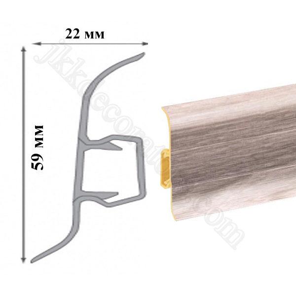 Плинтус пластиковый напольный Cezar Premium 59х22x2500 мм. Дуб скандинавский 174 / шт.