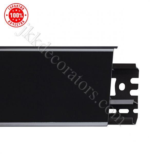 Плинтус напольный пластиковый Arbiton Indo (Арбитон Индо) с кабель-каналом, 70x26x2500 мм. чёрный блеск 18 / шт.