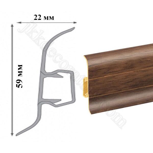 Плинтус пластиковый напольный Cezar Premium 59х22x2500 мм. Пекан невада 185 / шт.