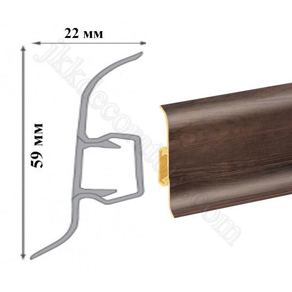 Плинтус пластиковый напольный Cezar Premium 59х22x2500 мм. Гикори дымчатый 191 / шт.