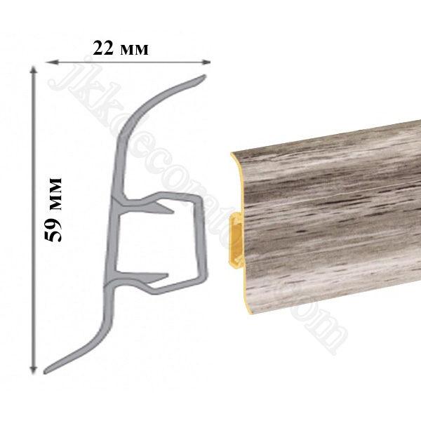 Плинтус пластиковый напольный Cezar Premium 59х22x2500 мм. 205 / шт.