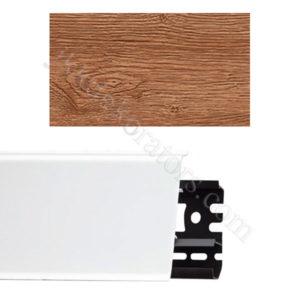 Плинтус напольный пластиковый Идеал Система 80x22x2200, с кабель-каналом, 211 Дуб рустик / шт.