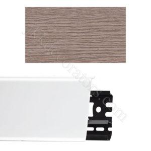 Плинтус напольный пластиковый Идеал Система 80x22x2200, с кабель-каналом, 215 Дуб снежный / шт.