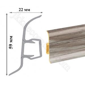 Плинтус напольный пластиковый Идеал Система 80x22x2200, с кабель-каналом, 229 Дуб латте / шт.