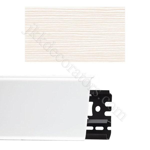 Плинтус напольный пластиковый Идеал Система 80x22x2200, с кабель-каналом, 255 Ясень бьянко / шт.