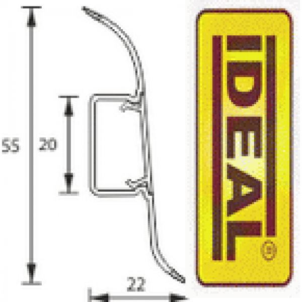 Плинтус идеал Оптима Ясень белый 252 (ideal optima) 55х22х2500 мм