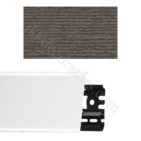 Плинтус напольный пластиковый Идеал Система 80x22x2200, с кабель-каналом, 352 Каштан серый / шт.