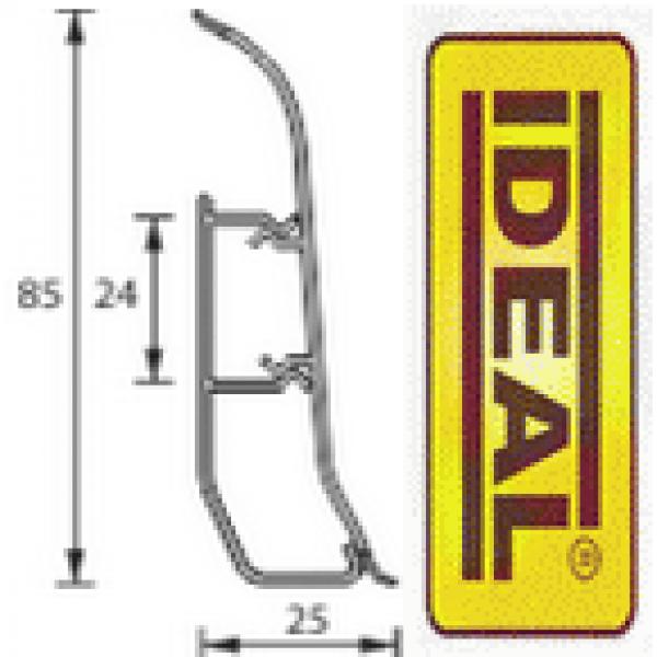 Плинтус идеал Делюкс Ясень серый 253 (ideal Deluxe) 85х22х2500 мм
