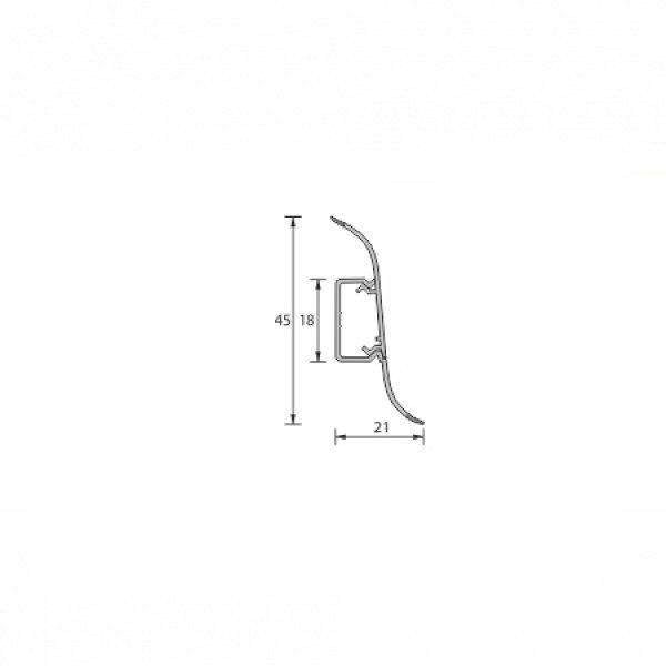 Напольный пластиковый плинтус пвх Идеал Альфа А45 231 Бук (ideal Alfa 45х21х2500 мм)