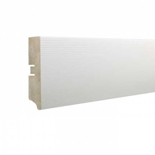 Плинтус МДФ Smartprofile Paint 3D wood 60 (60мм) Фактурный белый под покраску