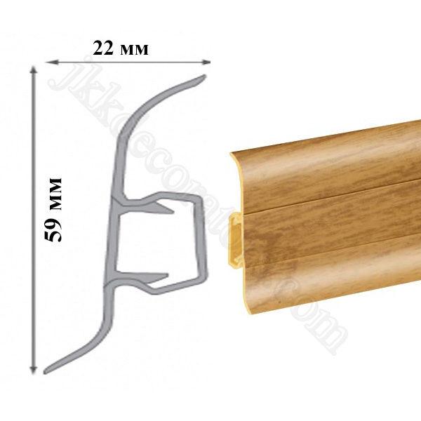 Плинтус пластиковый напольный Cezar Premium 59х22x2500 мм. дуб темный 68 / шт.