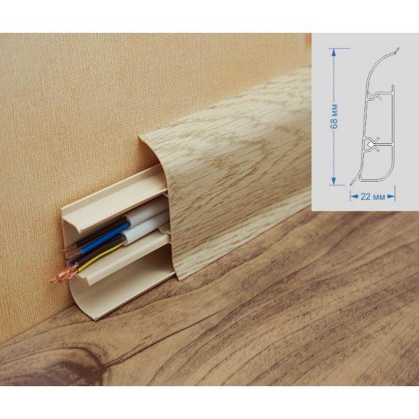 Плинтус пластиковый Вимар (Wimar), напольный, с кабель каналом, 68x22x2500 мм. Дуб эверест, 68мм. / шт.