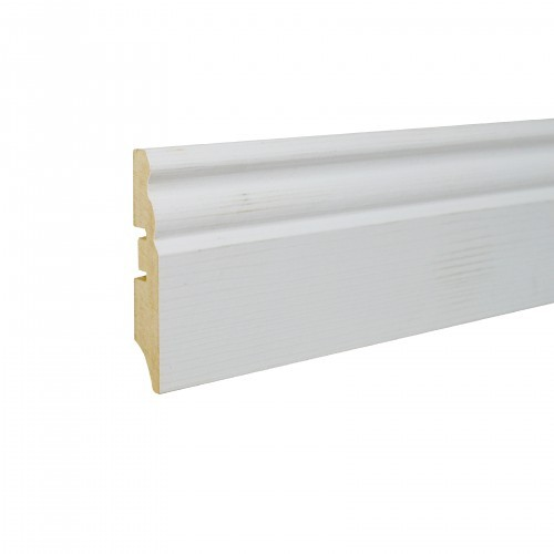 Плинтус МДФ Smartprofile Paint 3D wood 70Е (70мм) Фактурный белый под покраску