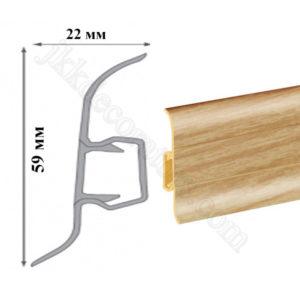 Плинтус пластиковый напольный Cezar Premium 59х22x2500 мм. тик 72 / шт.