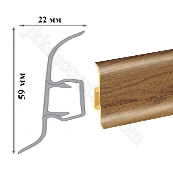 Плинтус пластиковый напольный Cezar Premium 59х22x2500 мм. орех 77 / шт.