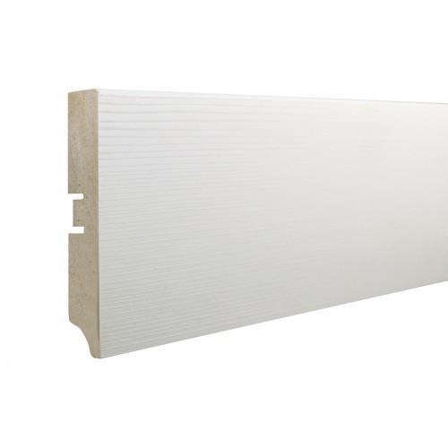 Плинтус МДФ Smartprofile Paint 3D wood 80А (80мм) Фактурный белый под покраску