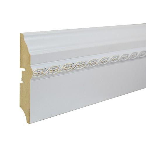 Плинтус МДФ Smartprofile (82 мм) Белый гладкий с орнаментом