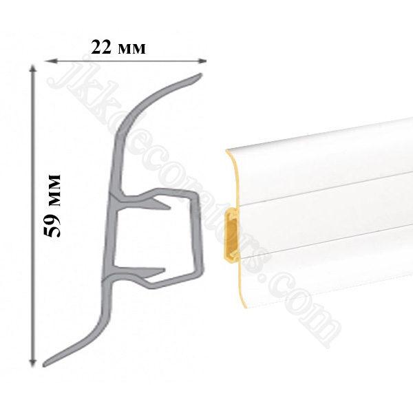 Плинтус пластиковый напольный Cezar Premium 59х22x2500 мм. белый 89 / шт.