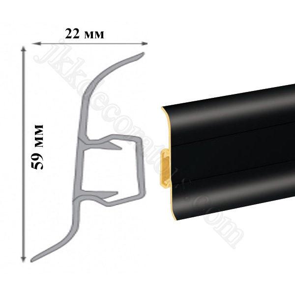 Плинтус пластиковый напольный Cezar Premium 59х22x2500 мм. черный 90 / шт.