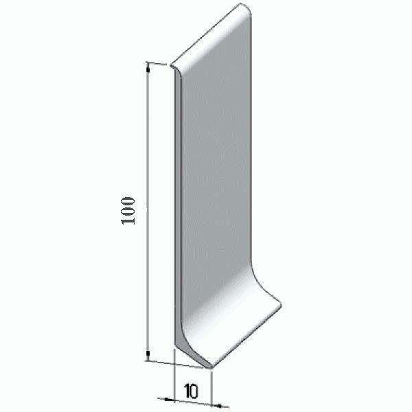 Плинтус алюминиевый, напольный, 100x10x3000