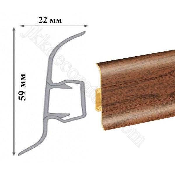 Плинтус пластиковый напольный Cezar Premium 59х22x2500 мм. кемпас 95 / шт.