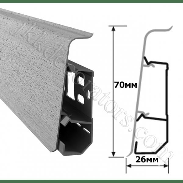 Плинтус напольный пластиковый Arbiton Indo (Арбитон Индо) с кабель-каналом, 70x26x2500 мм. дуб лофт 03 / шт.