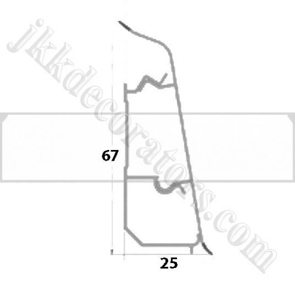 Плинтус пластиковый напольный Декор-Пласт 2500х67х25мм. Белый Тиснение LL001 / шт.