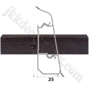 Плинтус пластиковый напольный Декор-Пласт 2500х67х25мм. Зебрано черно-коричневый LL026 / шт.