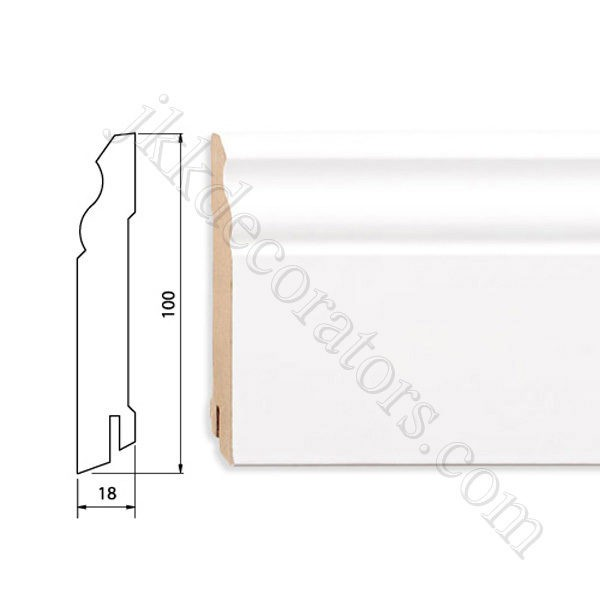 Плинтус МДФ белый фигурный Pedross 2500х100х18 (подходит под покраску) / шт.