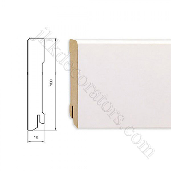 Плинтус МДФ белый прямой Pedross 2500х100х18 (подходит под покраску) / шт.