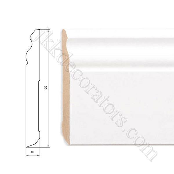 Плинтус МДФ белый фигурный Pedross 2500х120х18 (подходит под покраску) / шт.