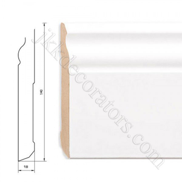 Плинтус МДФ белый фигурный Pedross 2500х140х18 (подходит под покраску) / шт.