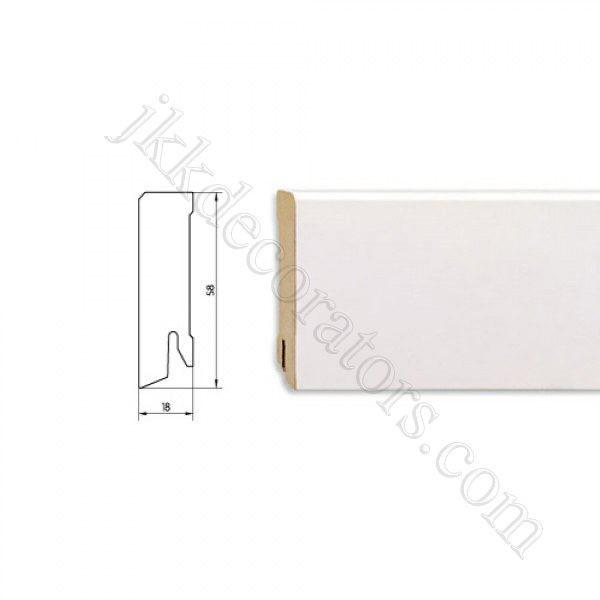 Плинтус МДФ белый прямой Pedross 2500х58х18 (подходит под покраску) / шт.