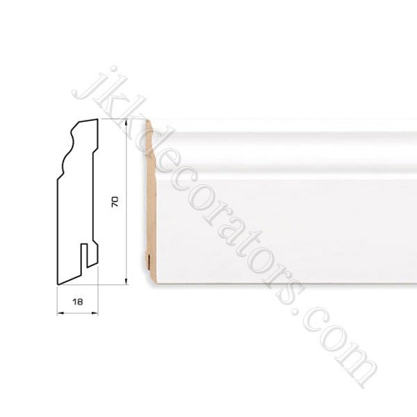 Плинтус МДФ белый фигурный Pedross 2500х70х18 (подходит под покраску) / шт.