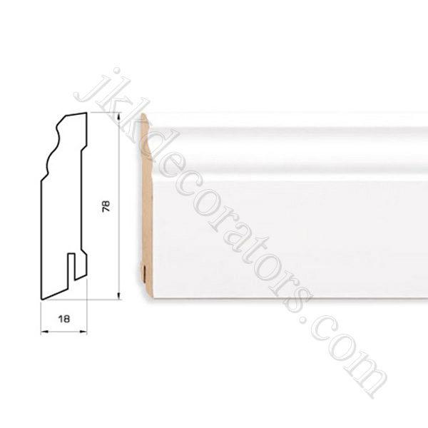 Плинтус МДФ белый фигурный Pedross 2500х78х18 (подходит под покраску) / шт.